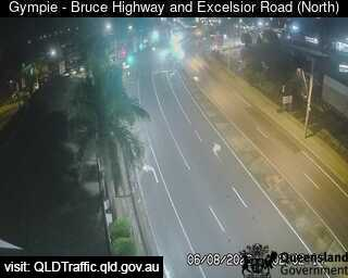 gympie, qld bruce highway & exelsior road traffic camera